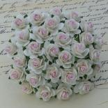Rozes 10mm - White with pink centre