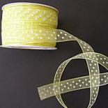 15mm Organza - YELLOW WITH WHITE DOTS
