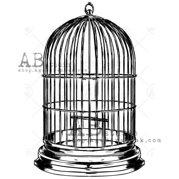 Rubber stamp - bird cage